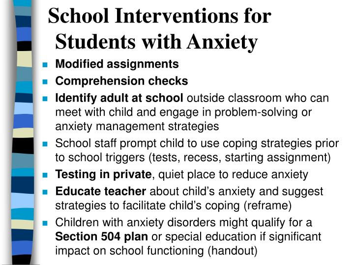 School Interventions for Students with Anxiety
