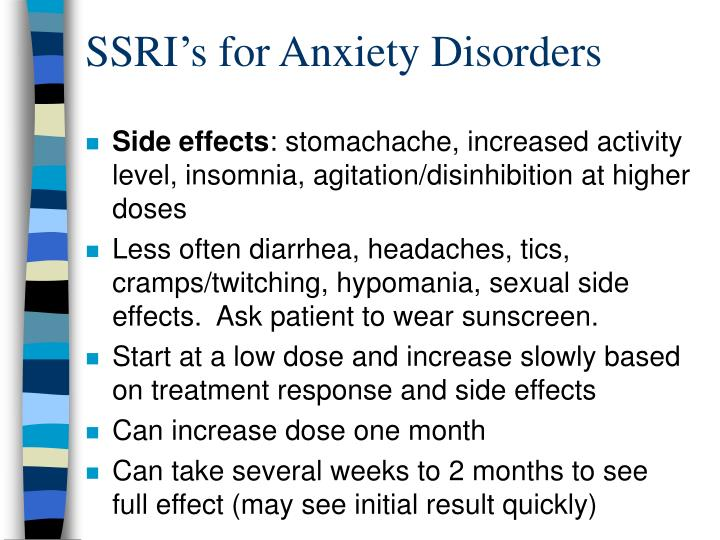SSRI's for Anxiety Disorders
