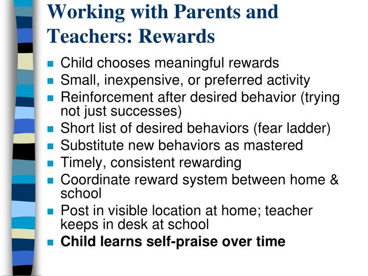 Working with Parents and Teachers: Rewards