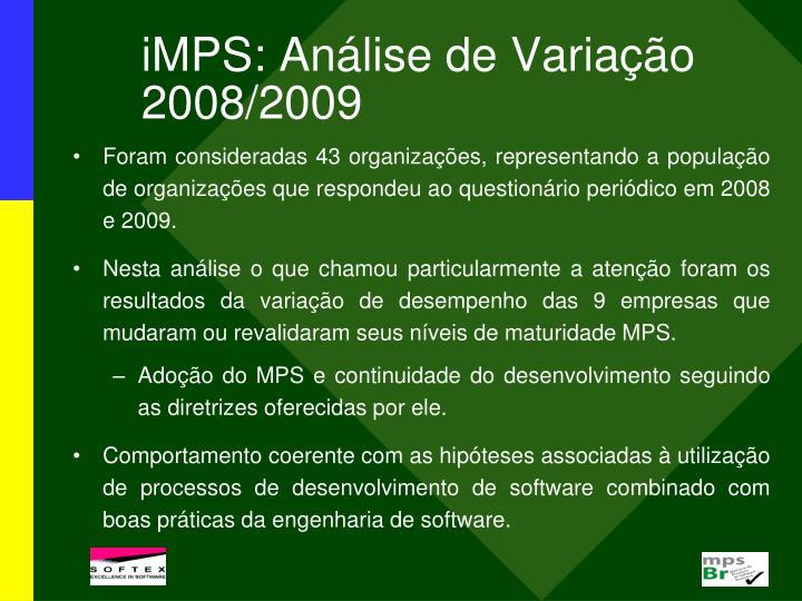 iMPS: Análise de Variação 2008/2009