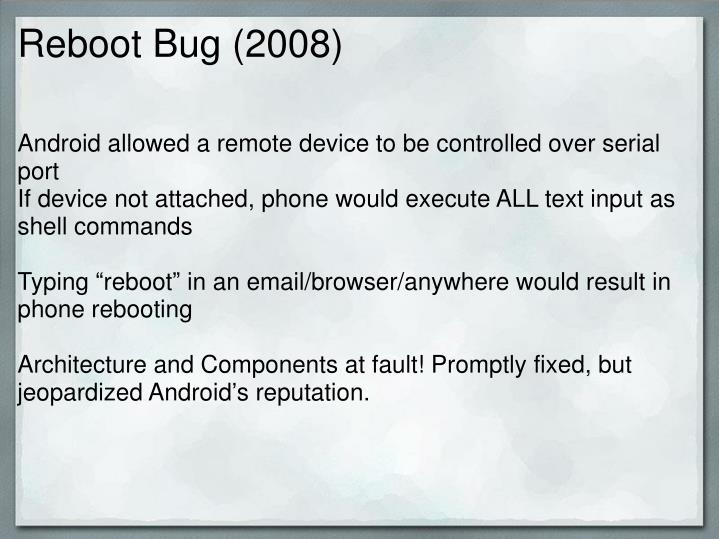 Reboot Bug (2008)