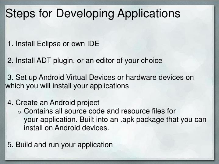 Steps for Developing Applications