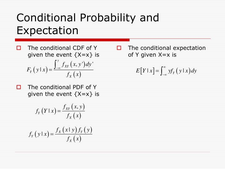 The conditional CDF of Y given the event {X=x} is