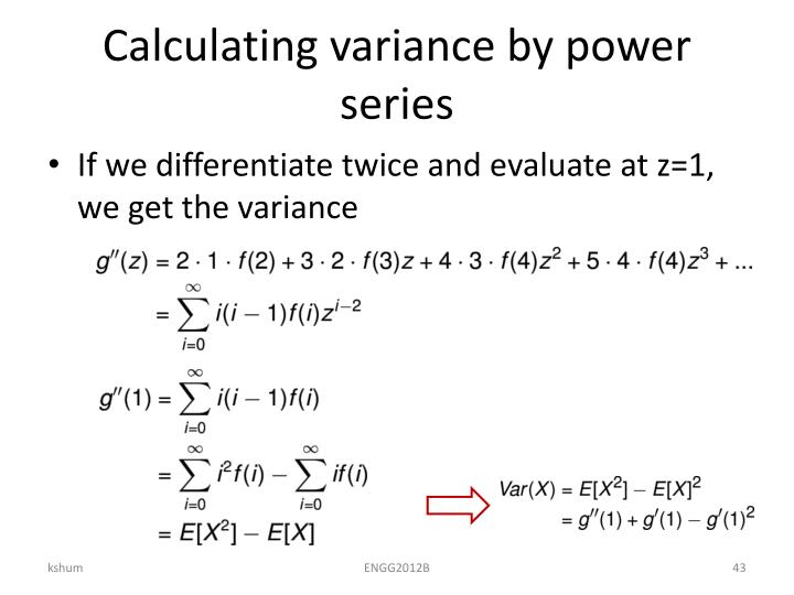 Calculating variance by power series