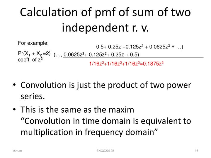 Calculation of pmf of sum of two independent r. v.