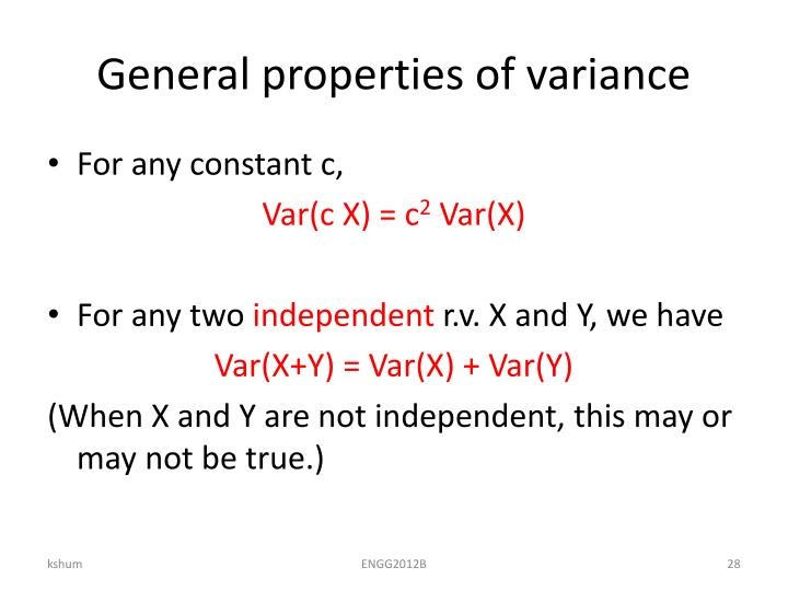 General properties of variance
