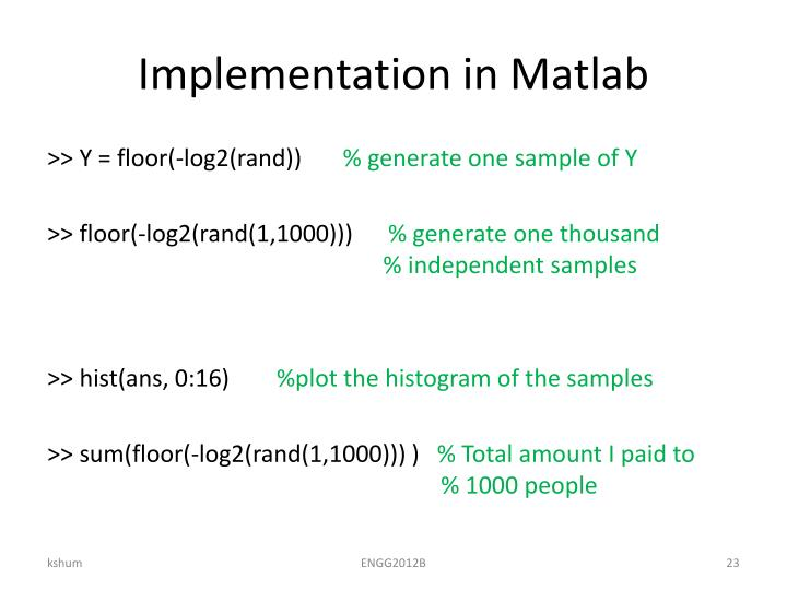 Implementation in Matlab