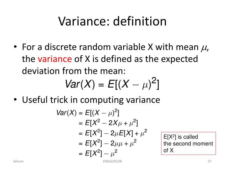 Variance: definition