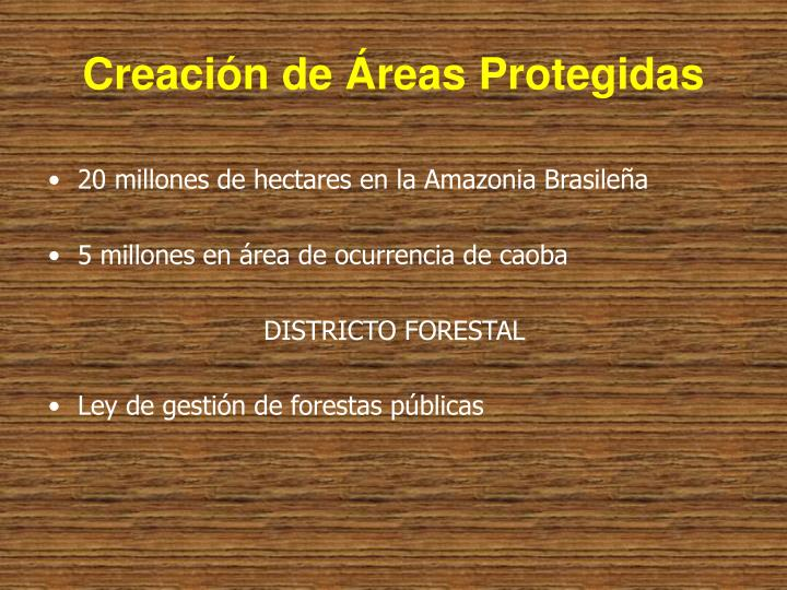 Creación de Áreas Protegidas