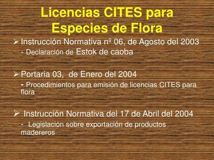 Licencias CITES para Especies de Flora