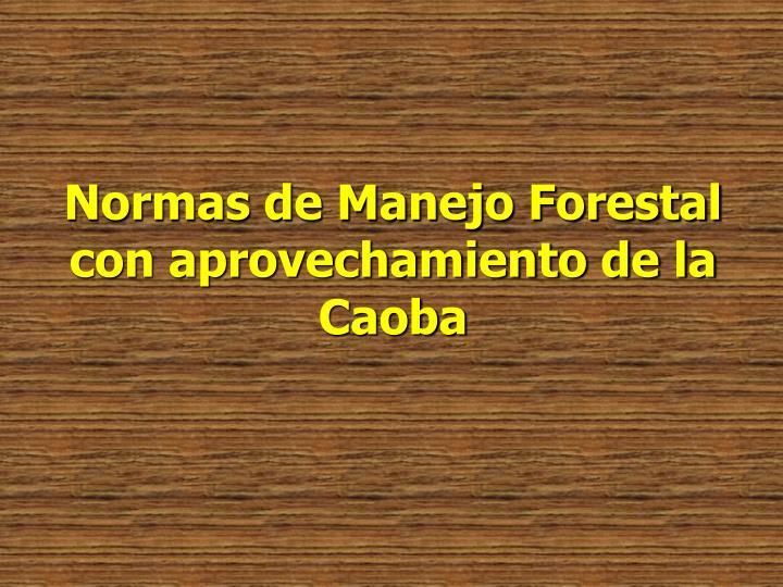 Normas de Manejo Forestal con aprovechamiento de la Caoba