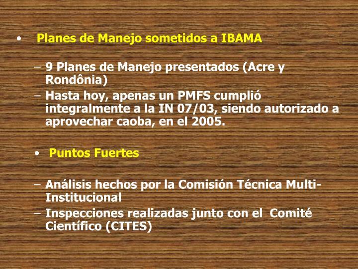 Planes de Manejo sometidos a IBAMA
