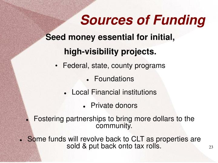 Seed money essential for initial,