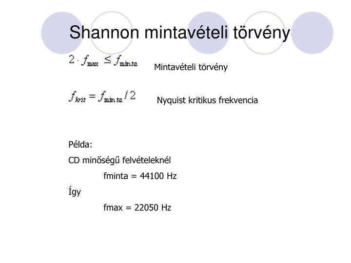 Shannon mintavételi törvény