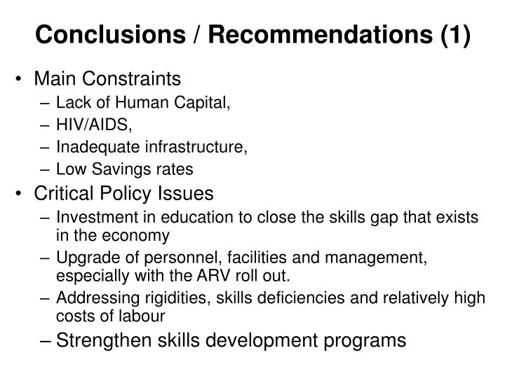 Conclusions / Recommendations (1)