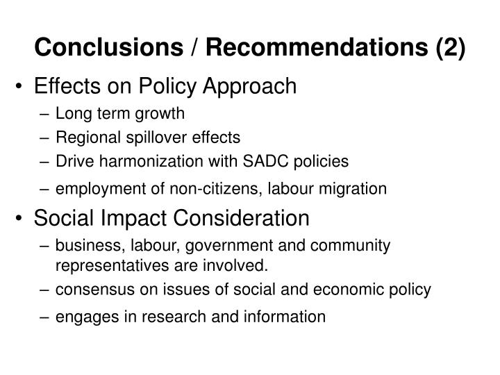 Conclusions / Recommendations (2)