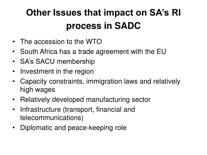 Other Issues that impact on SA's RI process in SADC