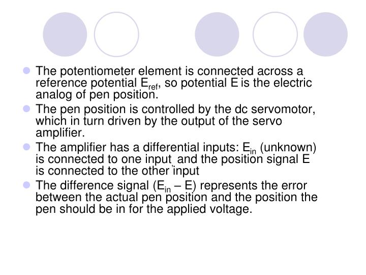 The potentiometer element is connected across a reference potential E