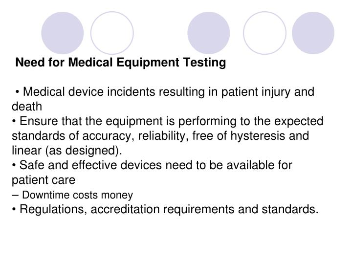 Need for Medical Equipment Testing