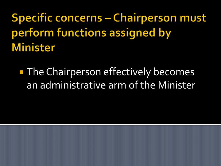 Specific concerns – Chairperson must perform functions assigned by Minister