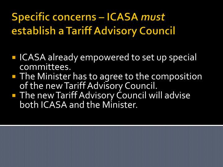 Specific concerns – ICASA
