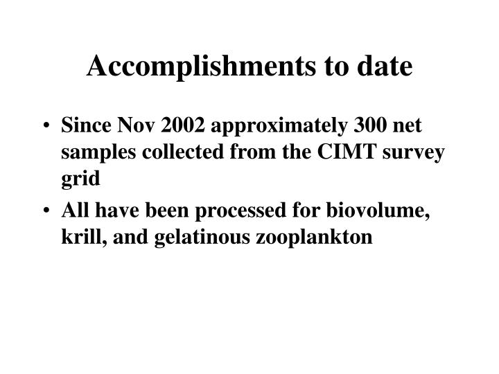 Accomplishments to date