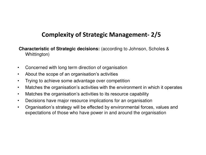 Complexity of Strategic Management- 2/5