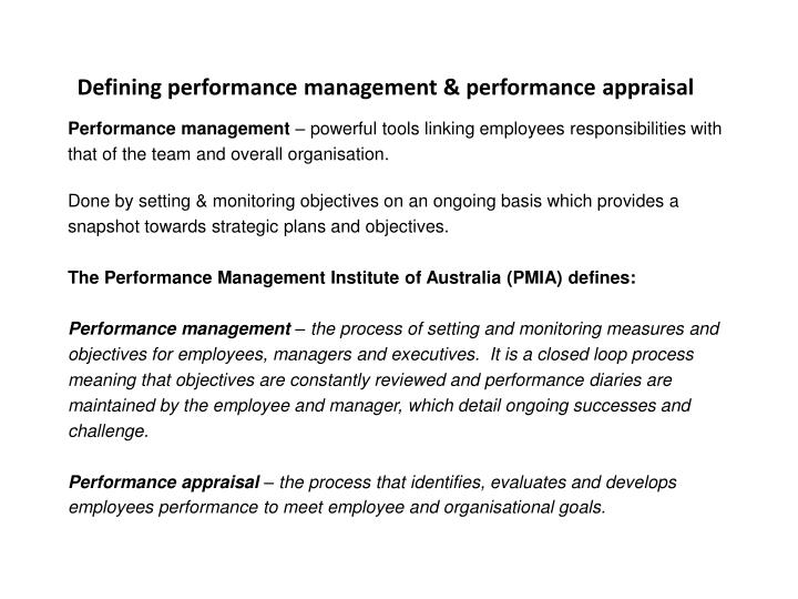 Defining performance management & performance appraisal