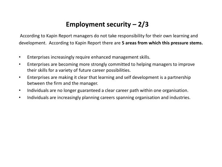Employment security – 2/3