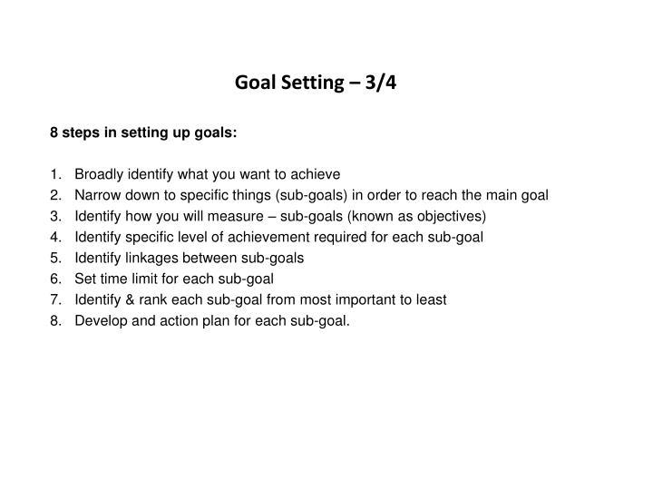 Goal Setting – 3/4