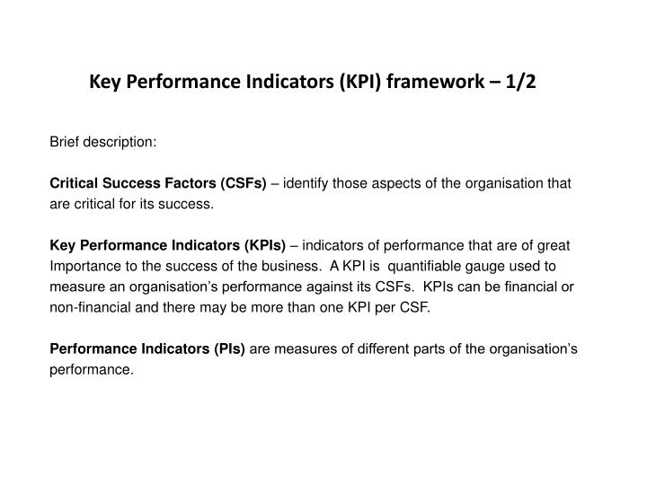 Key Performance Indicators (KPI) framework – 1/2