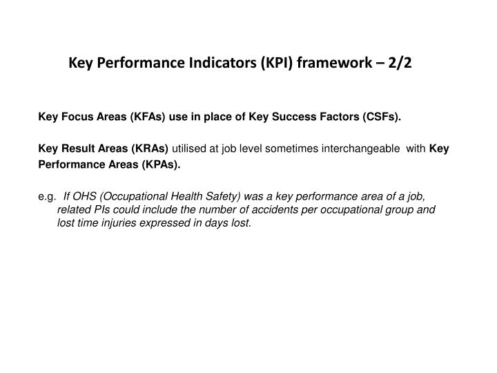 Key Performance Indicators (KPI) framework – 2/2