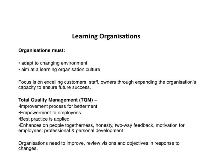 Learning Organisations