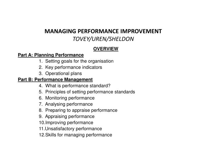 Managing performance improvement tovey uren sheldon