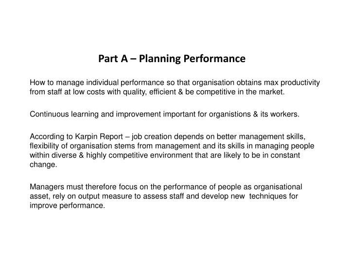 Part A – Planning Performance