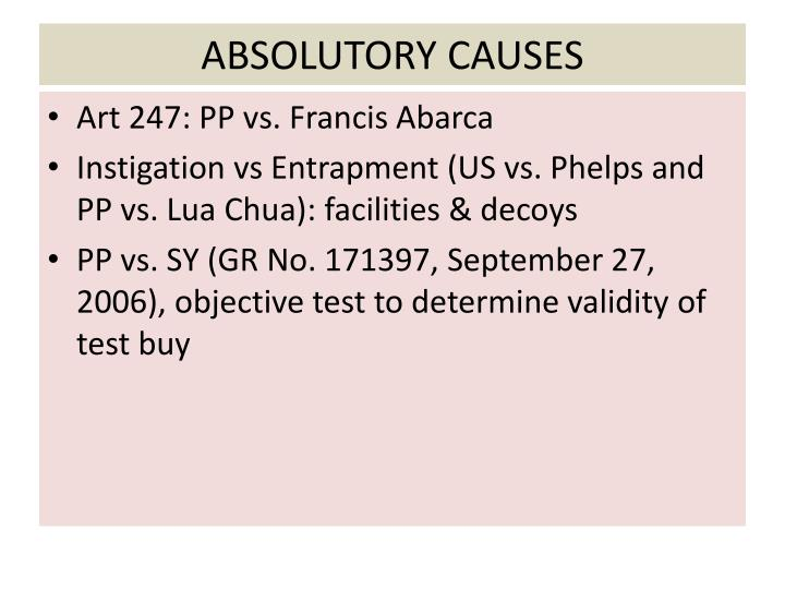 ABSOLUTORY CAUSES