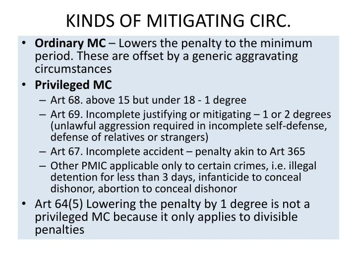 KINDS OF MITIGATING CIRC.