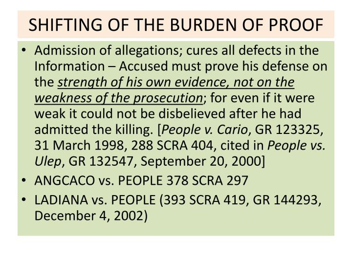 Shifting of the burden of proof
