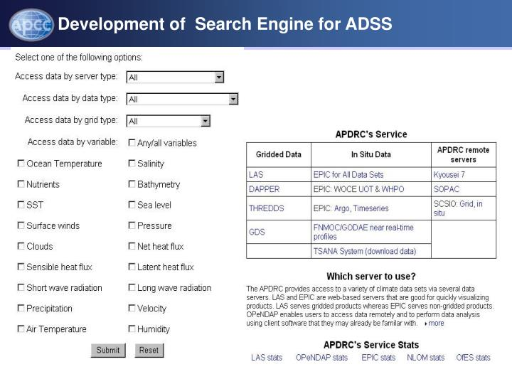 Development of  Search Engine for ADSS