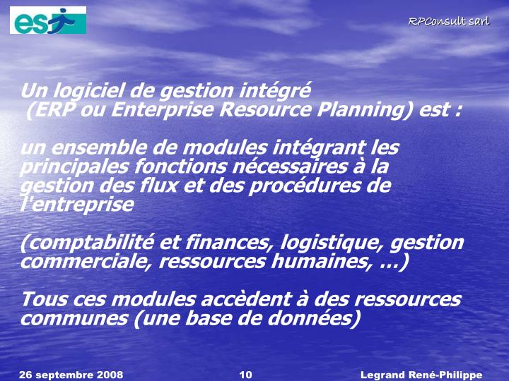 Un logiciel de gestion intgr