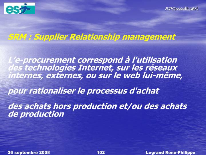 SRM : Supplier Relationship management