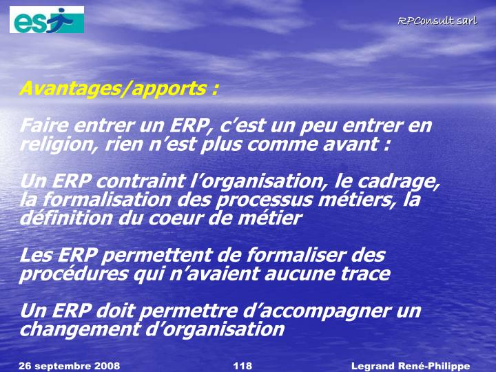 Avantages/apports :
