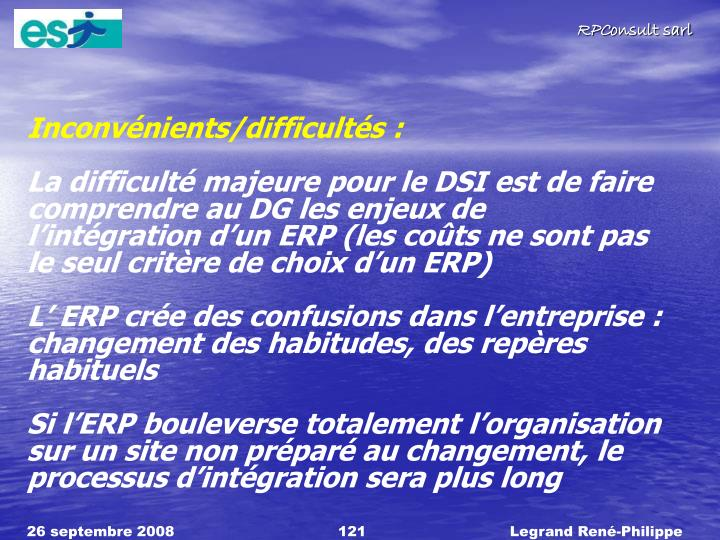 Inconvnients/difficults :