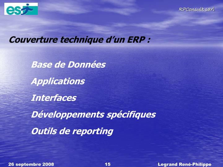 Couverture technique dun ERP :