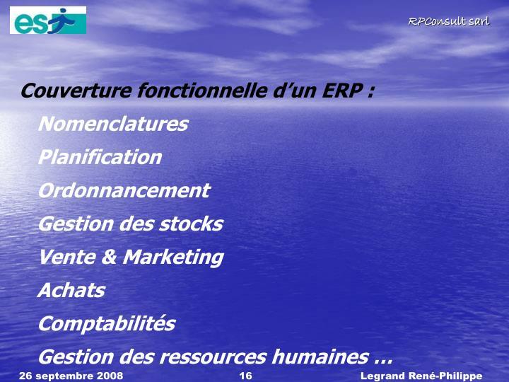 Couverture fonctionnelle dun ERP :