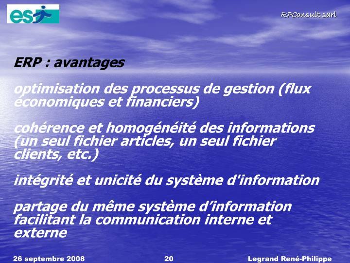 ERP : avantages