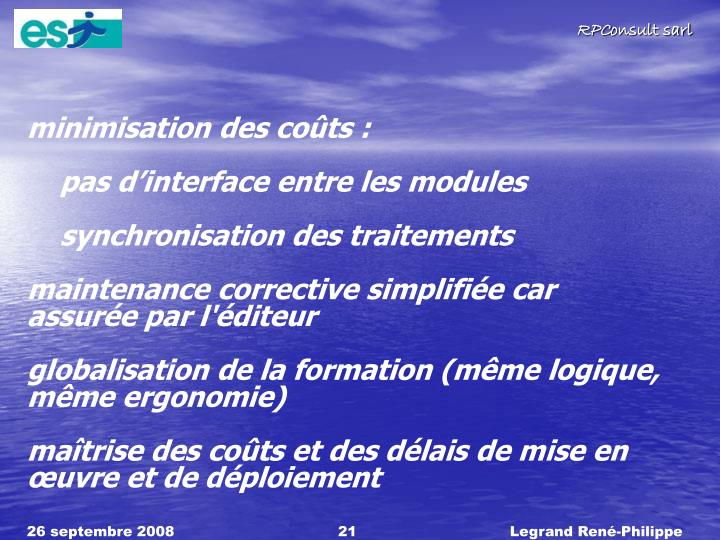 minimisation des cots: