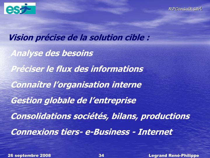 Vision prcise de la solution cible :