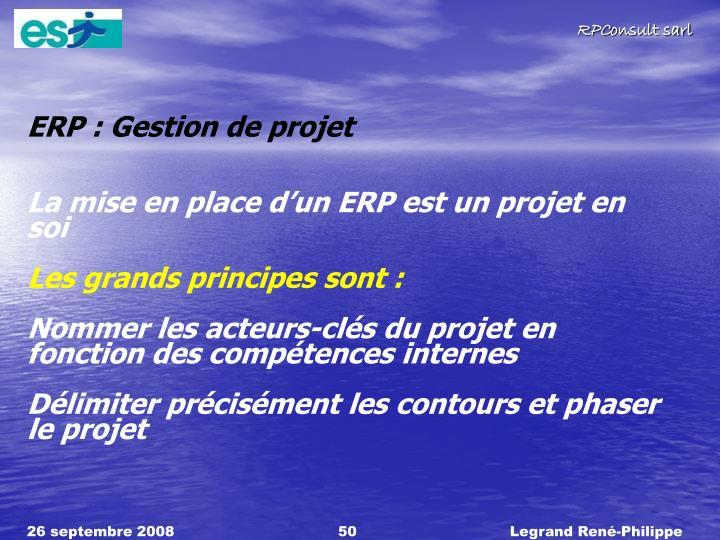 ERP : Gestion de projet