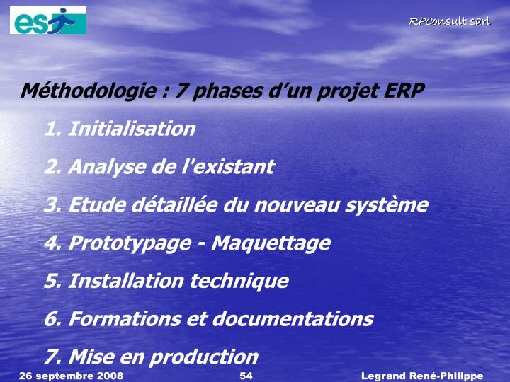 Mthodologie : 7 phases dun projet ERP